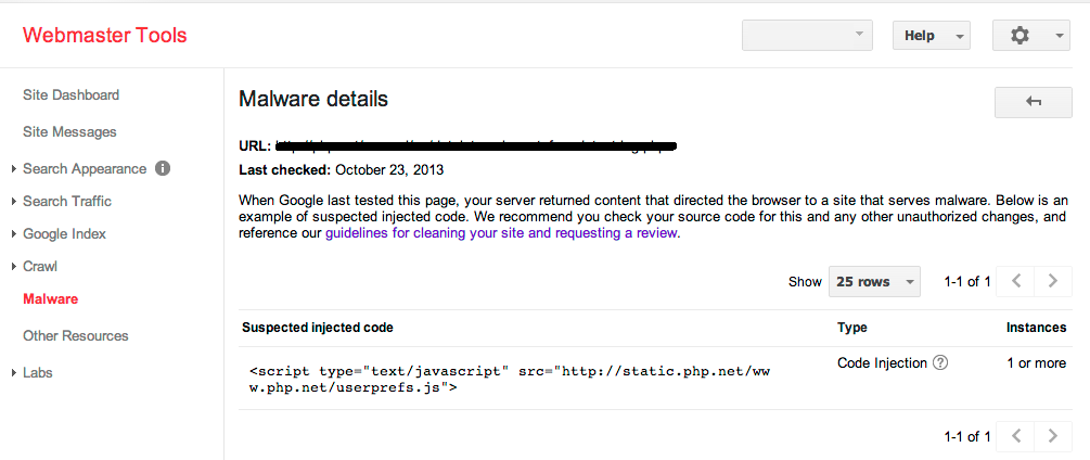 If you get this message, then Google has found malware on your website.