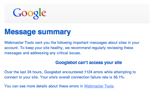 If you get this message, then Google can't crawl your website.
