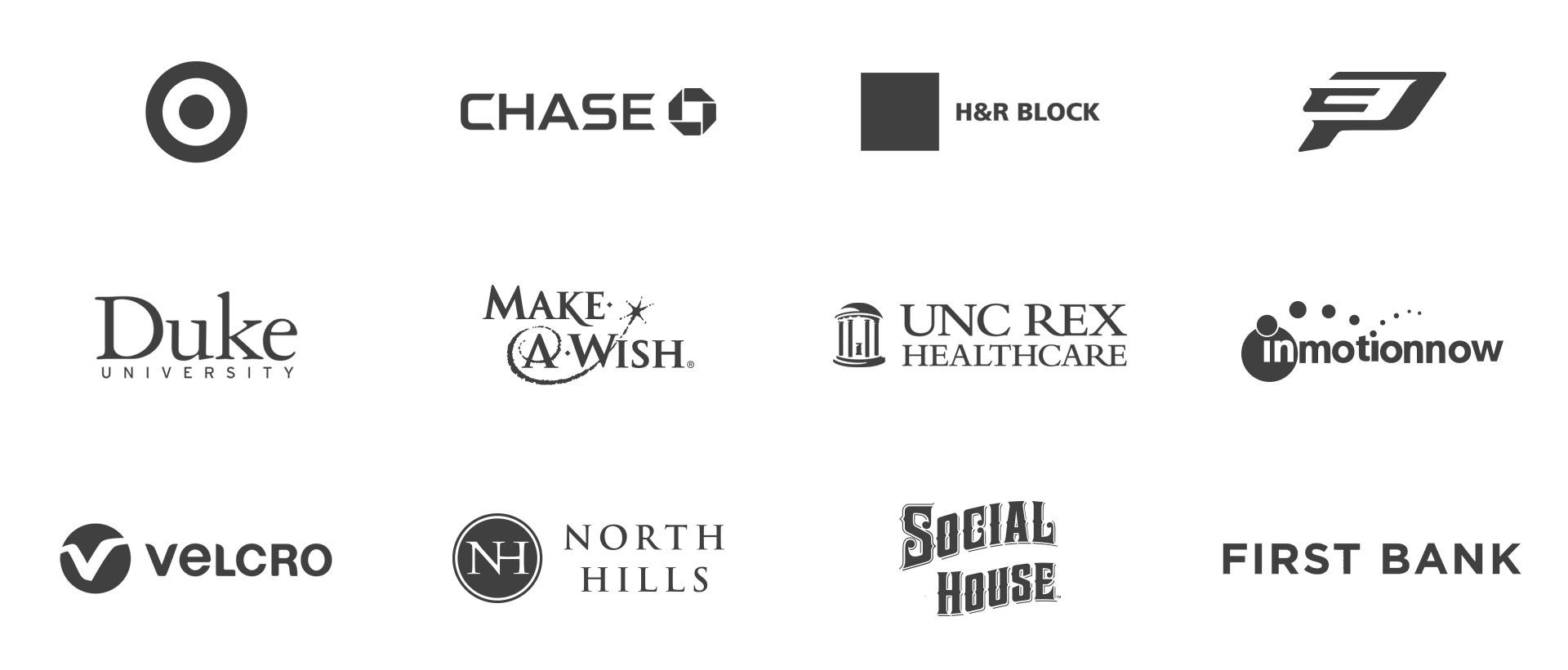Grid of client logo