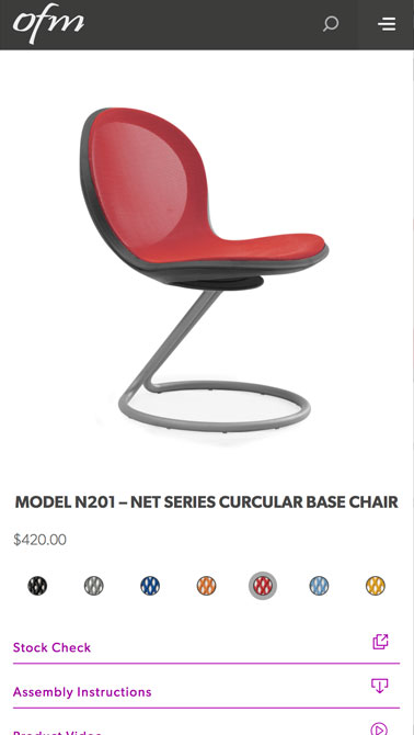 image of red, modern chair on ofm mobile website