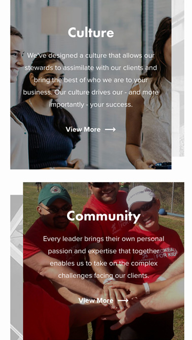Clarkston Consulting (client) mobile page on culture and community