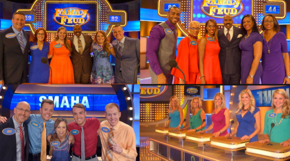 Bright and solid colors with primary shades on Family Feud