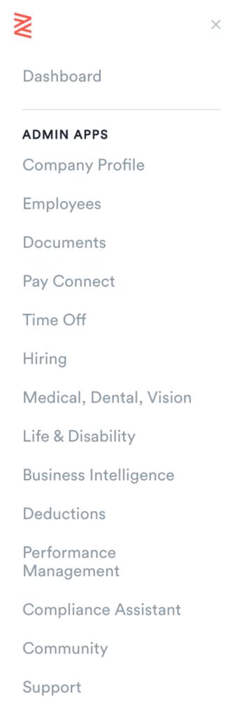 Zenefits menu bar