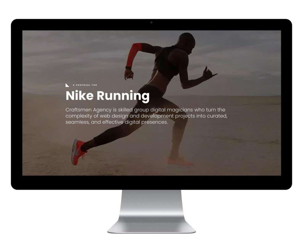 Computer with Nike proposal showing a runner