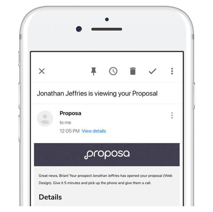 Proposa platform on a cell phone showing notifications