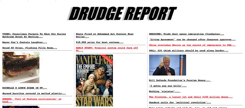 Drudge Report: Largely untouched website since the mid 1990s