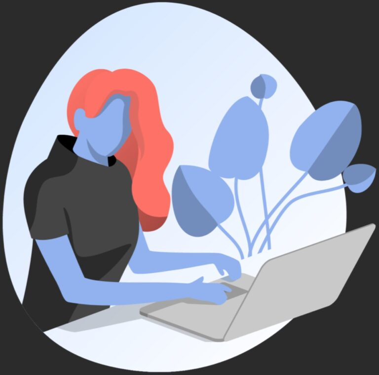 illustrated graphic of woman using a computer